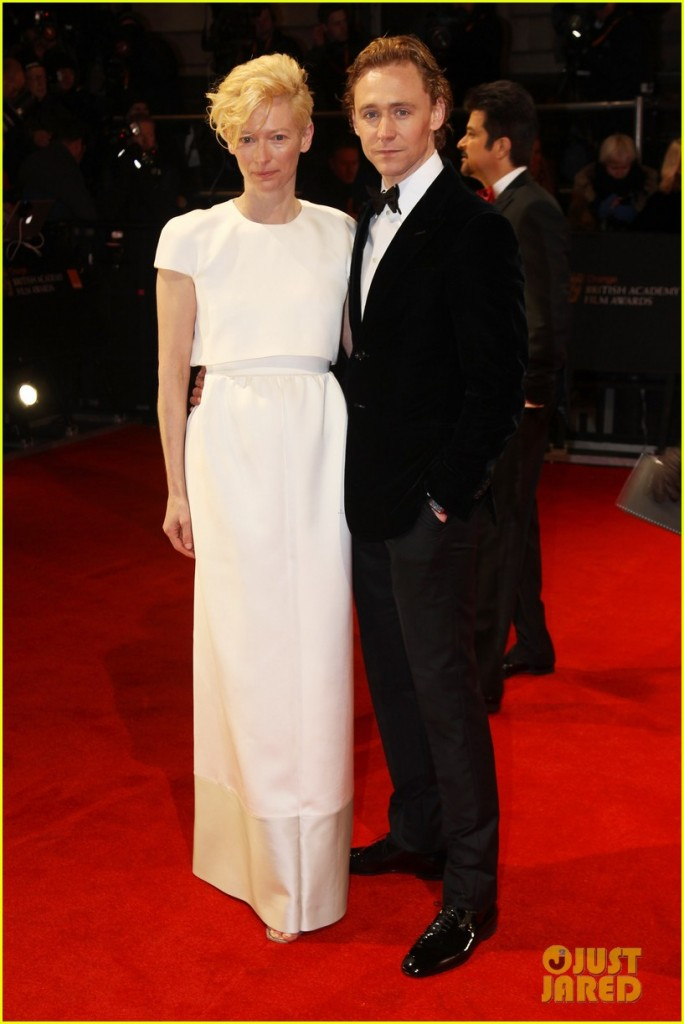 "Tom poses with costar Tilda Swinton from upcoming ""Only Lovers Left Alive"" film. (BAFTA 2012)"